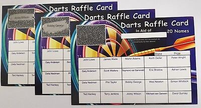 Darts 20 Square Scratch Cards, Fundraising Cards, Charity, Darts Team Funds