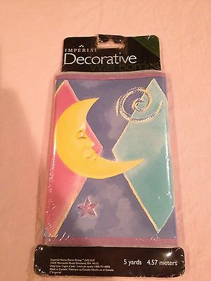 Imperial Decorative Wall Border 5 yards Moon Stars - Self Stick NIP