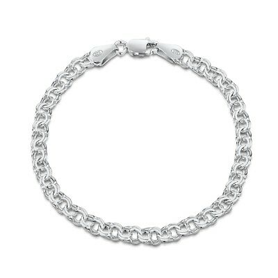 Amberta 925 Sterling Silver Chunky Double Curb Chain Bracelet 7 7.5 8 INCH Italy