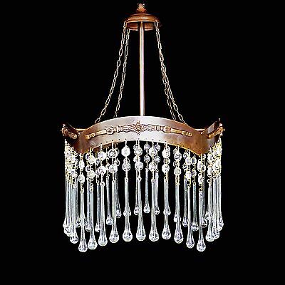 Antique French Art-Nouveau/ Deco Long Crystal Teardrop Chandelier/ Ceiling Lamp
