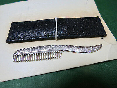 Vintage Silver MUSTACHE COMB With Case Never Used MINT on CARD