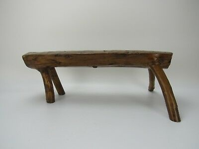 A Chinese Antique Walnut single-piece-wood Stool Four Branches Legs