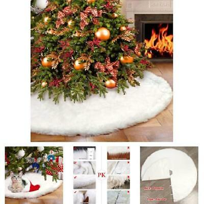 Fur Snowy White Christmas Tree Skirt 48 Inches Xmas Decorations Hook and Loop