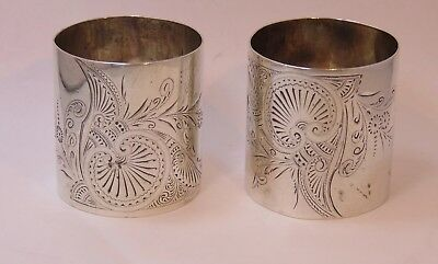 Pair Of Wide Heavy Engraved Sterling Aesthetic Napkin Rings A. Stowell  &co