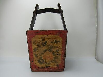 "A Chinese Antique Wooden Dou Basket / Magazine Box with Handle 23 "" High"