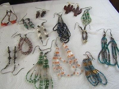 LOT OF 14 NATIVE AMERICAN Style BEAD AND WOOD WIRE EARRINGS SILVER FITTINGS