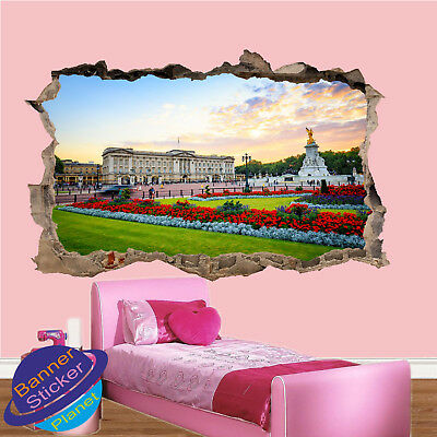 London Skyline Buckingham Palace 3D Magic Window Wall Art Adhesive Vinyl V1*