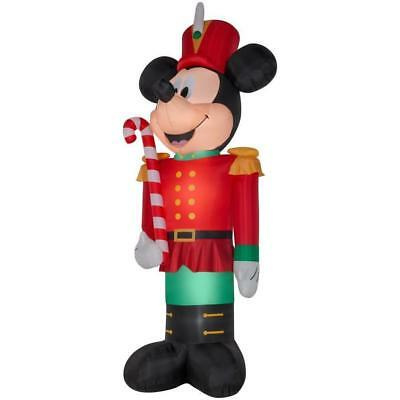 christmas airblown inflatable 14 12toy soldier mickey mouse holding candy cane - Mickey Mouse Christmas Blow Up