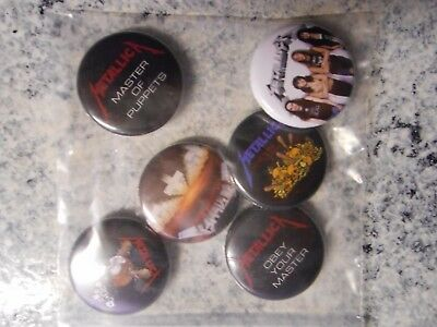 Metallica 2017 Master of Puppets Box 6 Buttons Pins ONLY New Sealed FREE Shippng