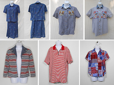 Womens Vintage Clothing Lot / 7 Pieces / Red, White, Blue & Denim Tops, Cardigan
