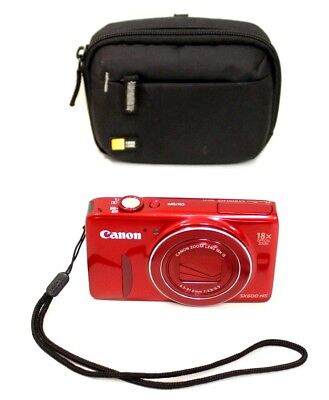 Canon Powershot Sx600 Hs Wifi 16.0 Mp Red - W/ Extras *read*