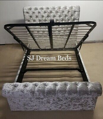 Chesterfield sleigh bed with ottoman storage with gas lift