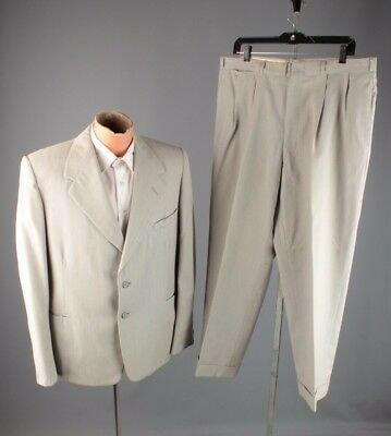 Vtg 1953 Men's 1950s 3 Button Striped Suit Jacket sz M Pants 36x28 #3901 Born