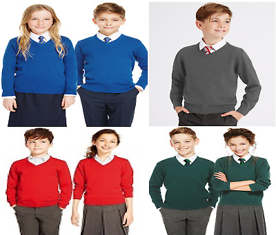 NEW EX M&S Cotton Rich Unisex Boys Girls 'V' Neck School Jumper Uniform 3y-16y
