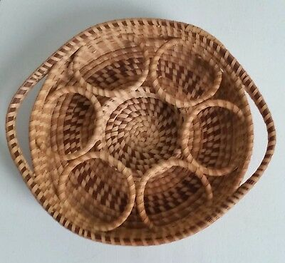 Vintage Charleston / Low Country Gullah Sweetgrass Basket, Drink Server Style