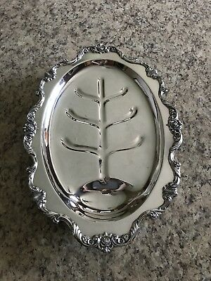 Wallace Silver Plated Meat Tray Platter Rose Pattern 7024