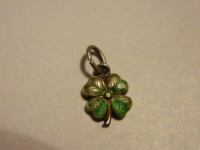 Scarce Vintage German Small Lucky 4 Leaf Clover Silver Charm Green Enamel #2438