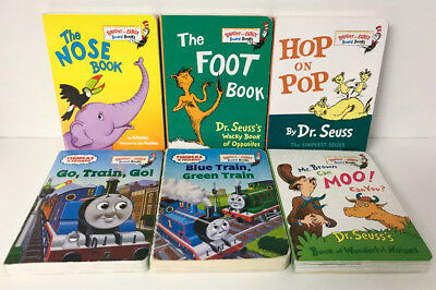 Dr Seuss Bright and Early Board Books Lot 6 Thomas Train Nose Foot Hop on Pop +
