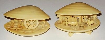 2 Carved Plastic Celluloid Clam Shell Japan Village Scene Waterwheel Boat People