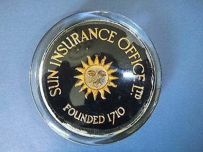 Vintage Glass Paperweight : Sun Insurance Office Ltd