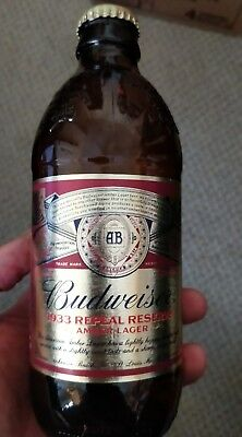 BUDWEISER BEER BOTTLE 1933 repeal reserve amber ale limited edition repro!