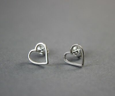 925 Sterling Silver Tiny Cut Out Heart Stud Earring UK New 0.53g