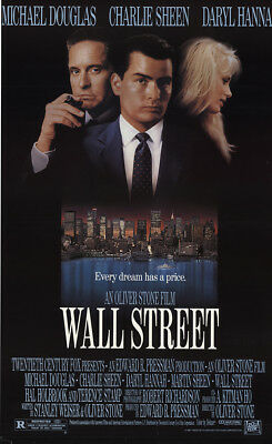 Wall Street 1987 27x41 Orig Movie Poster FFF-52726 Rolled Charlie Sheen
