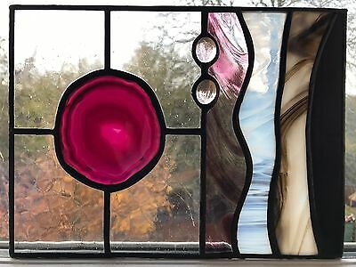 Purple Harmony Large Geode Stained Glass Panel Suncatcher  Decoration