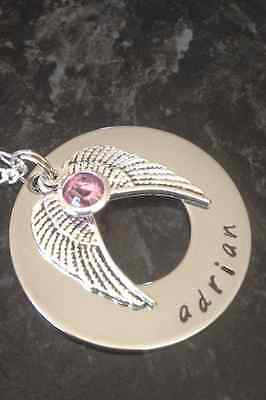 Hand Stamped Personalised Double Angel Wing Necklace with Birthstone.