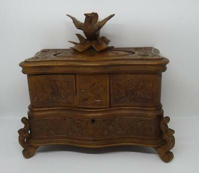 Beautiful Carved Bird Black Forest Jewellery / Sewing Box Silk Lined 3 sections