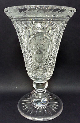 Fantastic American Brilliant Period Cut Glass Vase With Intaglio Engraved Birds