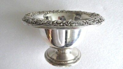Antique vintage 1890 S Kirk & Son Repousse sterling silver footed bowl 135g