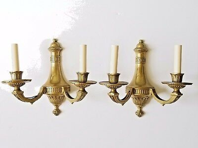 Neoclassical Style Dore Bronze 2 Light Wired Vintage Large Wall Sconces-Pair