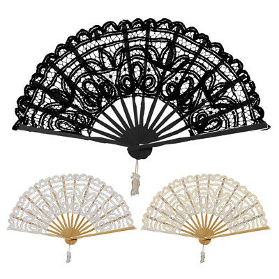 Vintage Lady Handmade Lace Hand Fan Bridal Wedding Party Decoration, Black T9Q9