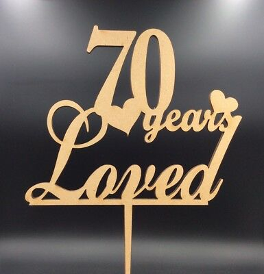 1Pc Cake Topper 70 Years Loved Seventy Wooden Anniversary Party Decor Supplies