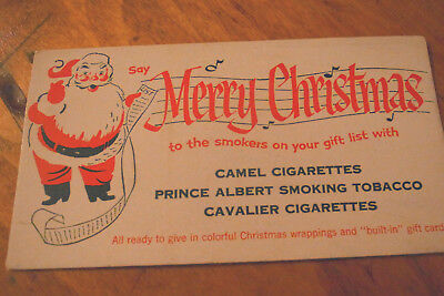 Vintage Prince Albert Camel Cigarettes Xmas Santa Ink Blotter-UNUSED-6 Avail