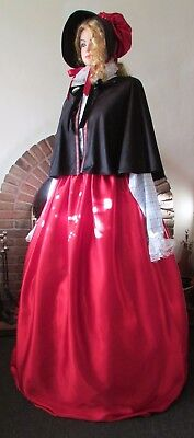 Ladies Victorian Style Cape Skirt Bonnet Dickensian Christmas Carol Costume New