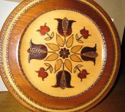 Unique Vintage Wooden Plate - Made in Poland- Polish Wood
