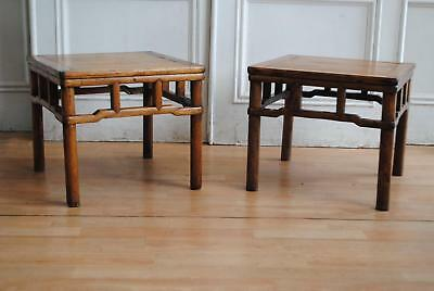 Pr Antique C19th Chinese Kang Cypress Low Tables - Oriental Side Lamp / Stools