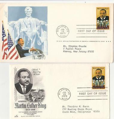 Two  Martin Luther King  MLK FDC Covers Atlanta Jan 13 1979 VF