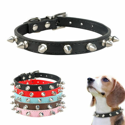 """Cute 1 Row Rivets Studded Dog Collars Pet Cat Puppy Necklace XS-L Neck for 8-18"""""""