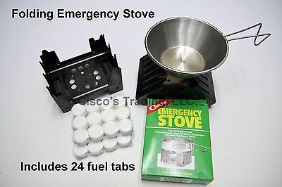 Emergency Stove & 24 Fuel Tabs Camping Survival Backpacking Cooking Fire Starter