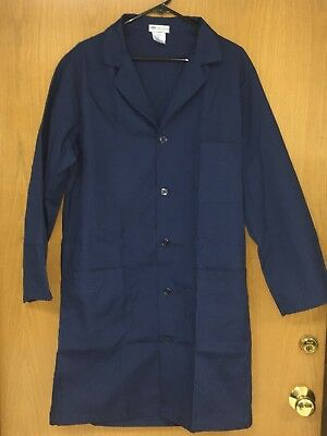 "Medline Unisex Knee Length Lab Coat Medium 41"" Length Navy 83044RNNM SHIP FREE"