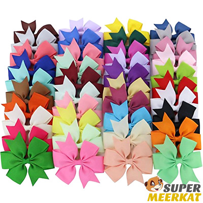 40Pk Hair Bows Set Ribbon Accessories Lot W/ Clips For Baby Girls Kids & Toddler