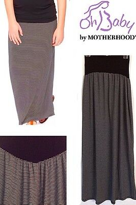 New MOTHERHOOD MATERNITY Maxi Long Skirt Women Sm 4-6 Striped Black White $44