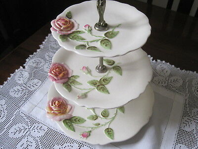 Royal Winton Large Pink Roses In Relief Three Tier Cake Stand ~ High Tea