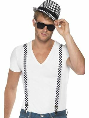 Smiffys Ska Two Tone Instant Kit, Black & White, with Braces and Hat - Male