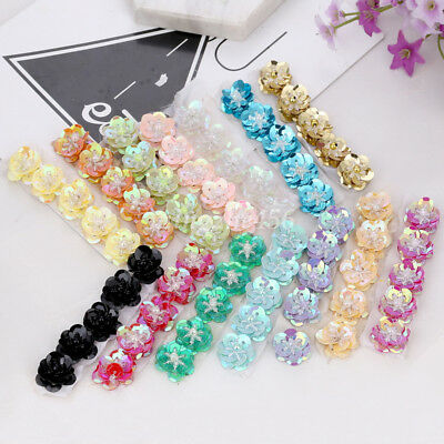 5PC 3D Sequins Beads Patch Flower Applique Sewing for Hairband Hat Bag DIY Craft