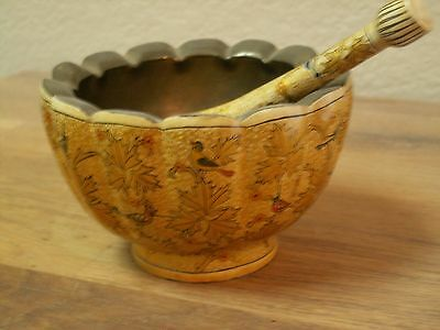 Indian Mortar and Pestle with Miniature Paintings