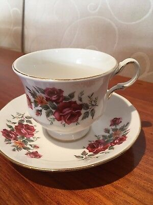 Queen Anne Bone China Tea Cup and Saucer Duo Made in England Roses Shabby Chic
